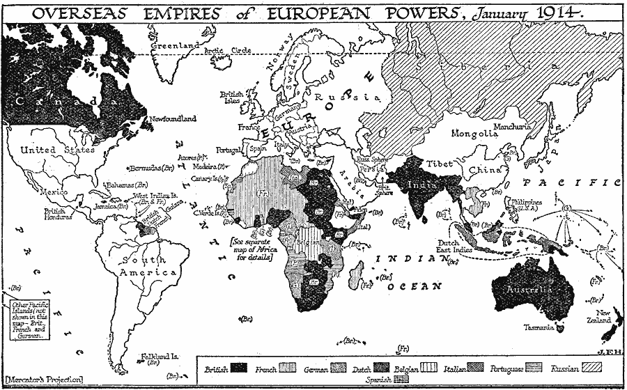 Map of European colonial holdings, January, 1914.