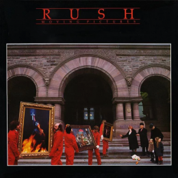 Cover of Rush's 1980 album, Moving Pictures