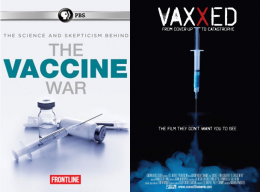 Covers of Frontline's The Vaccine War and Andrew Wakefield's Vaxxed.