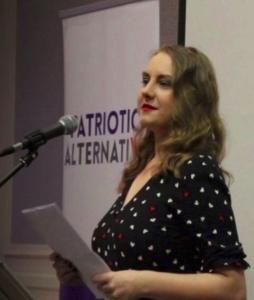 Laura Towler speaks at Patriotic Alternative