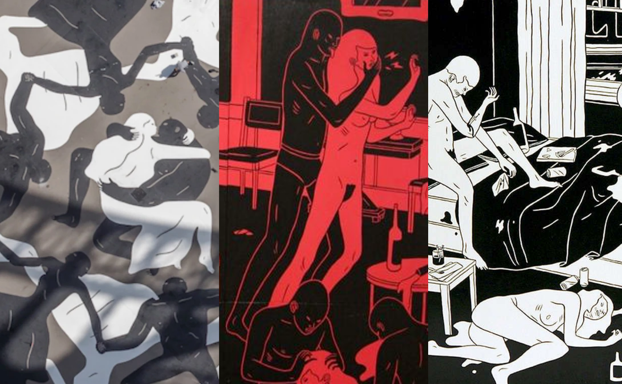 "The art of Cleon Peterson, who is sponsored by the Jewish Rothschild family and designed the Endless Sleep mural beneath the Eiffel Tower (left). Pictured alongside the rest of his ""art,"" which features black figures raping and murdering white women and white figures dying of drug overdoses, it appears that the title Endless Sleep is a euphemism for the deliberately engineered destruction of the white race."