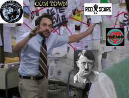 The Pepe Silvia meme featuring Dirtbag Left podcasts with a photo of Hitler.