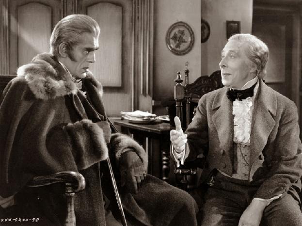 Boris Karloff as the antisemitic Count Ledrantz and George Arliss as Nathan Rothschild